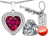 Switch-It Gems™ 2in1 Heart 10mm Simulated Ruby Pendant with Interchangeable Simulated Diamond Included style: 308295
