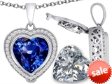 Switch-It Gems™ 2in1 Heart 10mm Simulated Sapphire Pendant with Interchangeable Simulated Diamond Included style: 308296