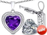 Switch-It Gems™ 2in1 Heart 10mm Simulated Amethyst Pendant with Interchangeable Simulated Diamond Included