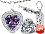 Switch-It Gems™ 2in1 Heart 10mm Simulated Alexandrite Pendant with Interchangeable Simulated White Topaz Included style: 308298