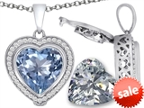 Switch-It Gems™ 2in1 Heart 10mm Simulated Aquamarine Pendant with Interchangeable Simulated Diamond Included style: 308299