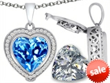 Switch-It Gems™ 2in1 Heart 10mm Simulated Blue Topaz Pendant with Interchangeable Simulated Diamond Included style: 308300