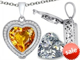 Switch-It Gems™ 2in1 Heart 10mm Simulated Citrine Pendant with Interchangeable Simulated Diamond Included style: 308301