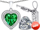 Switch-It Gems™ 2in1 Heart 10mm Simulated Emerald Pendant with Interchangeable Simulated Diamond Included