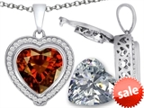 Switch-It Gems™ 2in1 Heart 10mm Simulated Garnet Pendant with Interchangeable Simulated Diamond Included