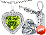 Switch-It Gems™ 2in1 Heart 10mm Simulated Peridot Pendant with Interchangeable Simulated Diamond Included style: 308304