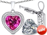 Switch-It Gems™ 2in1 Heart 10mm Simulated Pink Tourmaline Pendant with Interchangeable Simulated Diamond Included