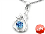 Original Star K™ Round Simulated Blue Topaz Swan Pendant