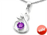 Original Star K™ Round Simulated  Amethyst Swan Pendant