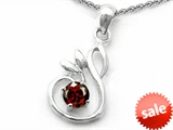 Original Star K™ Round Simulated Garnet Swan Pendant
