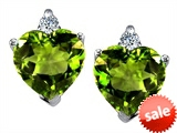 Original Star K™ 7mm Heart Shape Simulated Peridot Earrings style: 308310