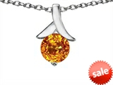Original Star K™ Round Pendant with Genuine Citrine style: 308311