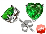 Original Star K™ 7mm Heart Shape Simulated Green Tsavorite Earring Studs