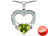 Celtic Love by Kelly™ Hands Holding 8mm Heart Claddagh Pendant With Simulated Peridot