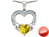 Celtic Love by Kelly™ Hands Holding 8mm Heart Claddagh Pendant With Simulated Yellow Sapphire