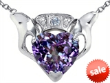 Celtic Love by Kelly™ Claddagh Love Pendant With 8mm Heart Simulated Alexandrite and Genuine Diamond style: 308319