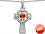 Celtic Love by Kelly™ Cross pendant 7mm Round Simulated Orange Mexican Fire Opal