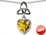 Celtic Love by Kelly ™ Love Knot Pendant with Heart 9mm Simulated Citrine