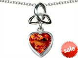 Celtic Love by Kelly ™ Love Knot Pendant with Heart 9mm Simulated Orange Mexican Fire Opal