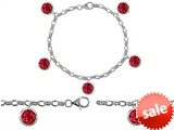 Original Star K™ High End Tennis Charm Bracelet With 5pcs 7mm Round Created Ruby style: 308332