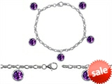 Original Star K™ High End Tennis Charm Bracelet With 5pcs 7mm Round Genuine Amethyst style: 308333
