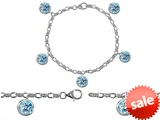 Original Star K™ High End Tennis Charm Bracelet With 5pcs 7mm Round Simulated Aquamarine