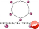 Original Star K™ High End Tennis Charm Bracelet With 5pcs 7mm Round Simulated Pink Tourmaline