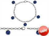 Original Star K™ High End Tennis Charm Bracelet With 5pcs 7mm Round Created Sapphire style: 308336