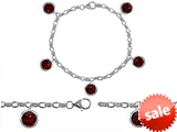 Original Star K™ High End Tennis Charm Bracelet With 5pcs 7mm Round Genuine Garnet