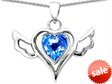 Original Star K™ Wings Of Love Pendant with Heart Shape Genuine Blue Topaz