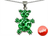 Original Star K™ Bear Pendant With Round Simulated Emerald