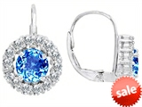 Original Star K™ Lever Back Dangling Earrings With 6mm Round Genuine Blue Topaz style: 308358