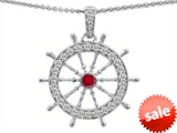 Original Star K™ Captain Wheel Pendant With Round Created Ruby And Cubic Zirconia style: 308366