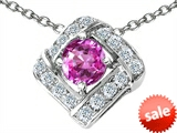 Original Star K™ Round Created Pink Sapphire Pendant style: 308368