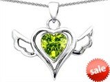 Original Star K™ Wings Of Love Pendant with Heart Shape Genuine Peridot