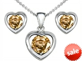 Original Star K™ Round Simulated Imperial Yellow Topaz Heart Earrings With Matching Pendant style: 308371