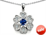 Original Star K™ Flower Pendant With Round 4mm Created Sapphire style: 308374