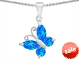 Original Star K™ Butterfly Pendant Made with Created Blue Opal style: 308384