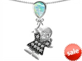 Original Star K™ Girl Holding a Balloon Mother October Birthstone Pear Shape Created Opal Pendant style: 308386