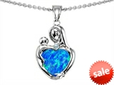 Original Star K™ Loving Mother With Child Hugging Pendant With Heart Shape 8mm Created Blue Opal style: 308387