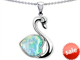 Original Star K™ Love Swan Pendant With 8mm Heart Shape Created Opal style: 308388