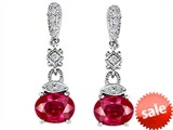 Original Star K™ Oval Created Ruby Hanging Drop Earrings style: 308391