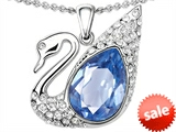 Original Star K™ Love Swan Pendant With Pear Shape Simulated Aquamarine style: 308394