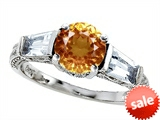 Original Star K™ Round 7mm Simulated Imperial Yellow Topaz Engagement Ring style: 308404