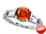 Original Star K™ Round 7mm Simulated Orange Mexican Fire Opal Engagement Ring style: 308406