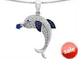 Original Star K™ Dolphin Pendant With Created Sapphire And Cubic Zirconia style: 308409