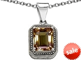 Original Star K™ Bali Style Emerald Cut 10x8mm Genuine Smoky Quartz Pendant