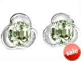 Original Star K™ Round Genuine Green Amethyst Flower Earrings Studs style: 308429