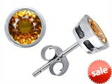 Original Star K™ Classic Bezel Set Earrings Studs with Round 6mm Genuine Citrine style: 308448