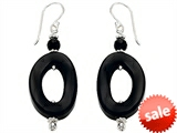 Noah Philippe™ Simulated Black Onyx Oval Hoop EarringsDrops style: 308460